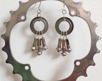 Upcycled Bicycle Dangle Earrings , Recycled Jewelry