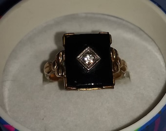 Antique Onyx and Crystal Gold Filled Ring - Size 7