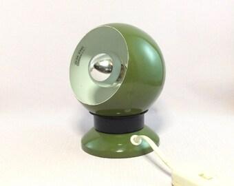 Green E.S.Horn space age magnetic eyeball light. Danish modern table lamp, desk lamp, bedside lamp. Green seventies mod globe light.