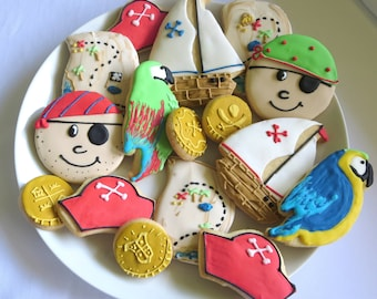 Pirate Cookies, Birthday Favors, Boys Birthday Favors, Boys Cookies, Birthday, Treasure Map, Pirate, Sugar Cookies, Birthday, Boys Birthday