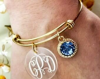 Monogrammed Bracelet - Custom Charm Bracelet - Bridesmaid Gift - Bridesmaid Bracelet - Monogram Charm Bracelet - Custom Sister Gift