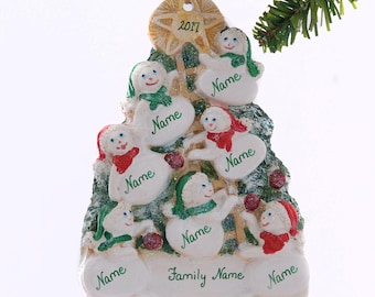 Seven snowmen Christmas ornament - personalized ornament for seven - large family personalized ornament - Name on each snowman free
