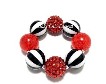 Toddler or Girls Chunky Bracelet - Red, Black and White Striped chunky bracelet - Bubblegum chunky bracelet - Pirate Chunky Bracelet