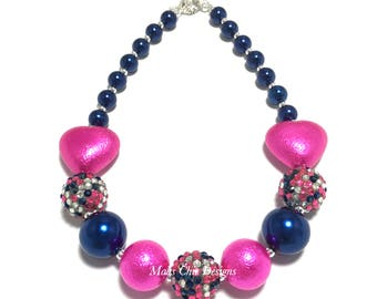 Toddler or Girls Hot Pink and Navy Blue Heart Chunky Necklace - Confetti Chunky Necklace - Pink and Blue Necklace - Valentines Day Necklace