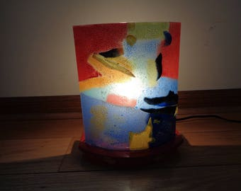 Vintage Mod Abstract Fused Glass Accent or Night Light in Very Good Condition with great lines and design, Great for a Small Space