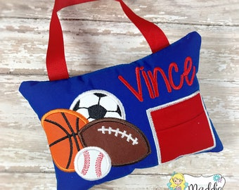 Sport Tooth Fairy Pillow, Boy Sports Tooth Fairy Pillow, Tooth Pillow, Soccer, Football, Baseball, Basketball, Tooth Fairy Pillow Boy