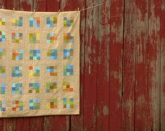 Modern Nine patch Throw Quilt perfect picnic country cottage home accent hand quilted cozy cabin back porch summer evening bonfire gathering