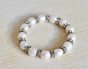 Freshwater Pearl Bracelet, Beaded Bracelet, Pearl Jewelry, Beaded Jewelry