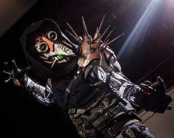 The Eternal Plague - Nuclear winter version - Plague Doctor green LED Cyberpunk light up face mask - ready to ship