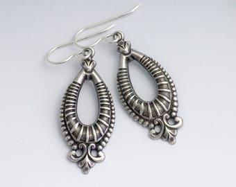 Antiqued Silver Earrings, Antiqued Brass Nickel Free Jewelry, Silver Drop Earrings, Silver Dangle Earring, Silver Filigree Earring, Euthalia