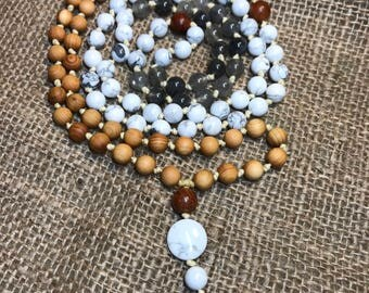 Mala, Handmade knotted 108 mala with howlite, smoky quartz and wood beads