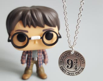 Harry Potter Charm Necklace, 9 3/4 Hogwarts Express, Charm Token Necklace, Magic, Handmade Silver Charm Necklace, Gift