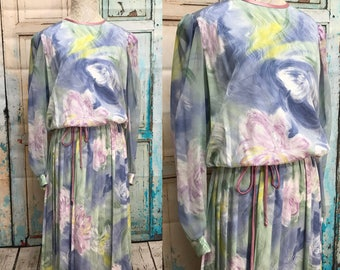 80s Pastel Watercolor Blouson Dress Pleated Skirt Lisa Michaels XL