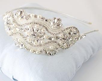 Crystal Rhinestone Jewel Head Piece, Bridal Rhinestone Headband, Bridesmaid Headband,Rose Gold Headband