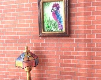 Exotic Bird Framed DollHouse Picture Original Art by English artist Hazel Rayfield