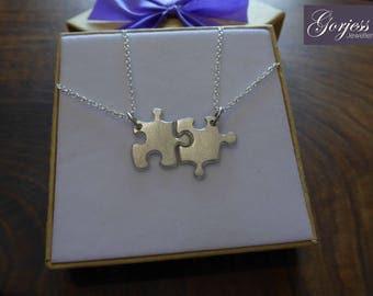 Two Miniature Silver puzzles - Silver Puzzle Pendants - Best Friend Charms - Satin Puzzle Necklace