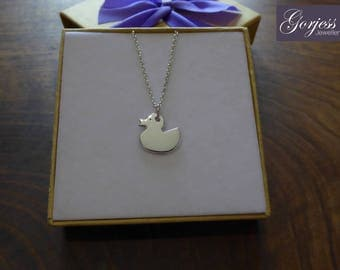 Silver Rubber Duck - Rubber Duck Pendant - Handmade Duck Necklace