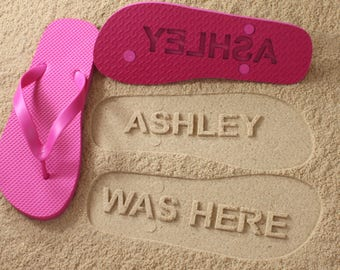 Personalized Flip Flops sand imprint*Check size chart before ordering*