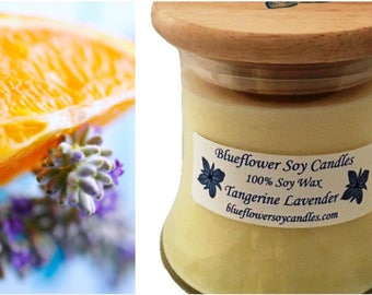 Scented Soy Candle Tangerine Lavender HandPoured 12 oz Jar With Wood Lid