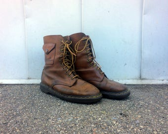 Dr. Survivalist -- Vintage pair of brown leather Doc Marten boots with utility pockets -- US 8