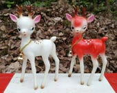 Adorable Vintage 1950's Red & White Made in Japan Deer Ornaments w/ Bells- Christmas Reindeer Kitschy Retro Festive Holiday Woodland Plastic