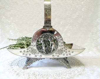 Antique Victorian Brides Basket, Marked Meridian Company 1869, Angels and Flowers, Silverplate Bridal Basket, TheSweetBasilShoppe