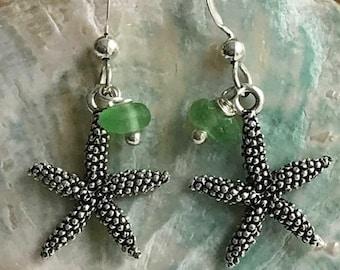 starfish and sea glass earrings, green sea glass earrings, beach wedding, sterling silver wire starfish earrings, made in USA