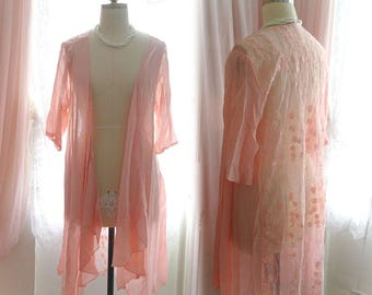 Boho Bohemian Hand Dyed Pink sheer lace back drape mid length Cardigan Jacket kimono Beach Coverup Gypsy Summer Hippie Shabby Chic