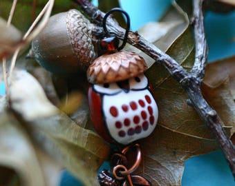 Owl beaded Christmas ornament, handmade, woodland , package tie, car decoration, small beaded ornament, brass, acorn, leaves, nature, bird