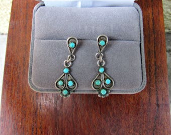 70's Turquoise Earrings Dangle Turquoise Needlepoint Inlay Sterling Silver Vintage Earrings Southwestern Jewelry