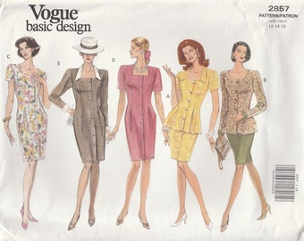 90s Dress, Top and Skirt Pattern Vogue 2857 Sizes 12 14 16 Uncut