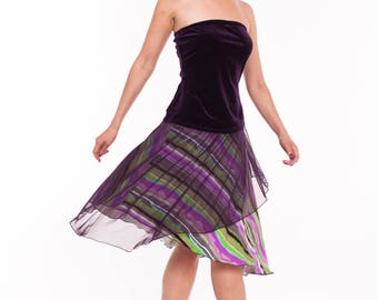 Tango Skirt in Purple Stripes, Tango Clothes in Salad and Lilac, Tango Clothing with Mesh, Custom Size Tango Skirt