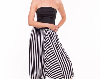 Long Afgani Tango Pants, Black and White Tango Clothes, Striped Dance Pants