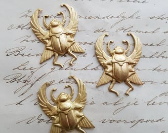 Raw Brass Ornament Beetle Scarab Egyptian Stamping Brass Natural Brass Ornament 3 pieces