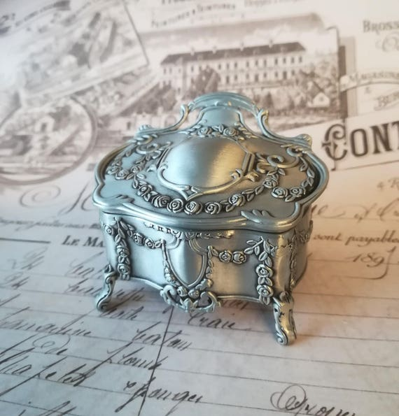 Gothic Jewelry Box Vintage style Antique Style Metal Box Small