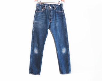 vintage levis denim / Levis 501 / high waist jeans / 1990s Levis 501 for Women high waist distressed jeans 28