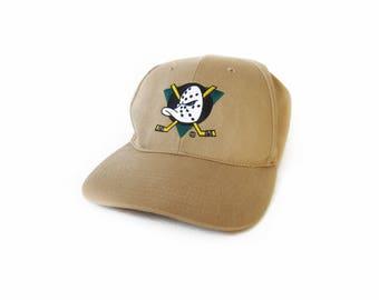 vintage baseball hat / Mighty Ducks hat / 90s dad hat / 1990s Anaheim Mighty Ducks khaki strap back dad hat