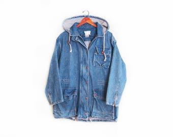 vintage denim jacket / baggy denim jacket / denim chore jacket / 1990s oversize Calvin Klein denim hoodie jacket Medium