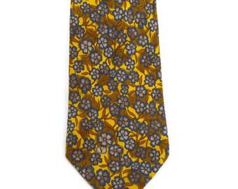 Vintage VALENTINO CRAVATTE Tie Pure Silk Necktie Yellow and Blue Flowers Italian Designer Neckwear Made in Italy Luxury Ties