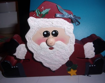Wooden Christmas Shelf Santa's