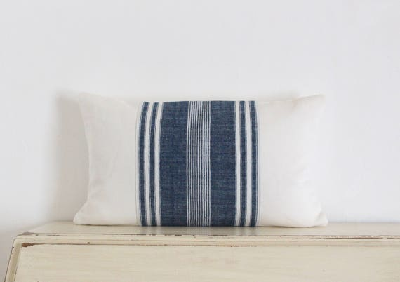 "Hand woven vintage French linen pillow cushion cover 12"" x 20"""