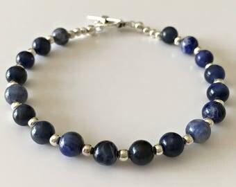 Sodalite Bracelet, Beaded Bracelet, Chakra Bracelet, Throat Chakra, Crystal Healing, Blue Bracelet, Blue Gemstones, Sagittarius Birthday