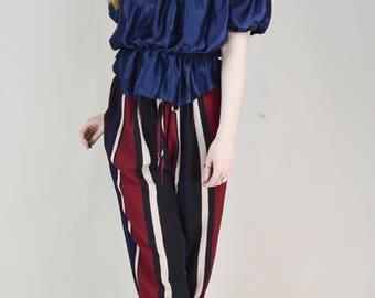 90s Blue Satin Shirred Off Shoulder Blouse S / M