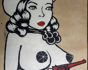 Candy Barr - cowgirl original painting