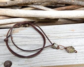 Smokey Quartz Necklace Smokey Quartz Pendant Smokey Quartz Crystal Meditation Crystal Brown Leather Necklace Healing Crystal Necklace