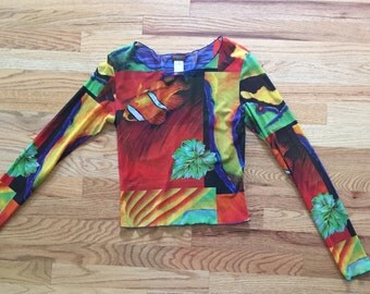Vintage 90's KENZO Long Sleeve Sheer Fish Colorful Butterfly Botanical Top Sz 40 Barneys Made in France