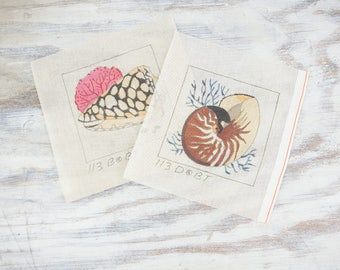 Vintage Seashell Needlepoint Canvases, Nautilus and Marble Cone Shells, small wall art.