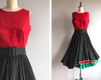Vintage 60s Dress / 1960s Red Colorblock Black White Polka Dot Crystal Pleat Circle Skirt / Party Dance Dress