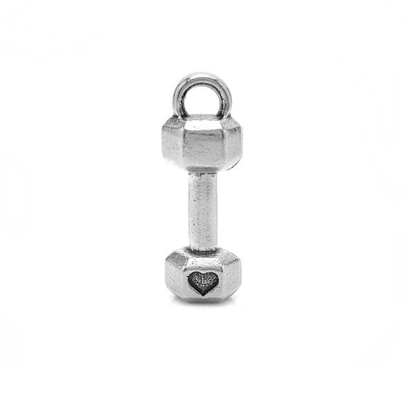 Mini Dumbbell with Heart Charm - Add a Charm to a Custom Charm Bracelets, Necklaces or KeyChains - Nickel Free - Small Barbell Pendant Charm