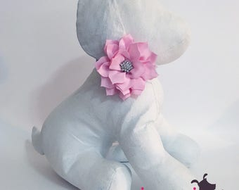 3 inch Baby Pink RHINESTONE Lotus Flower Collar Accessory